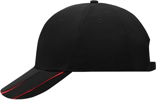 MB601 6 Panel Groove Cap - Zwart/rood - One size