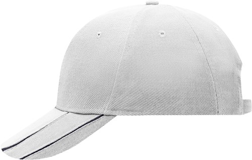 MB601 6 Panel Groove Cap - Wit/navy - One size