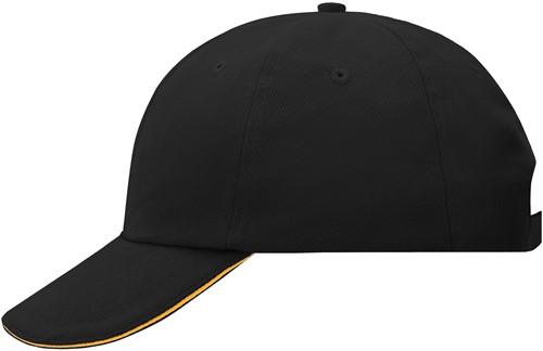 MB6112 6 Panel Raver Sandwich Cap - Zwart/oranje - One size