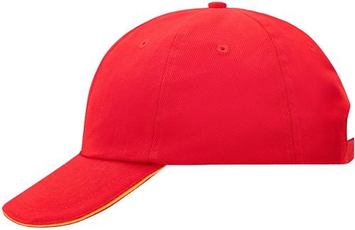 MB6112 6 Panel Raver Sandwich Cap - Signaal-rood/goudgeel - One size