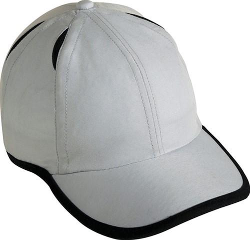 MB6156 6 Panel Micro-Edge Sports Cap - Lichtgrijs/zwart - One size