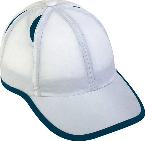 MB6156 6 Panel Micro-Edge Sports Cap - Wit/navy - One size