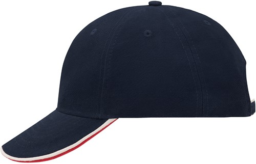 MB6197 6 Panel Double Sandwich Cap - Navy/wit/red - One size