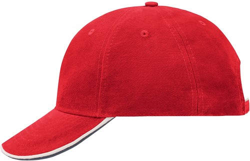 MB6197 6 Panel Double Sandwich Cap - Rood/wit/navy - One size