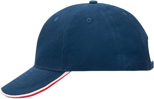 MB6197 6 Panel Double Sandwich Cap - Royal/wit/rood - One size