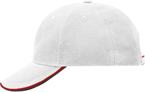 MB6197 6 Panel Double Sandwich Cap - Wit/rood/navy - One size