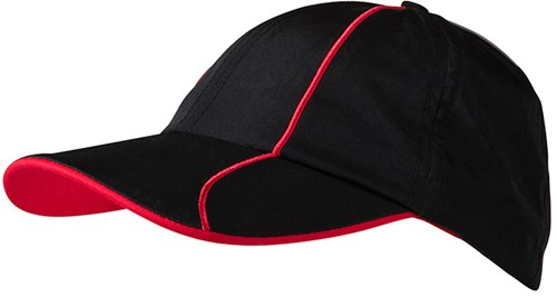 MB6202 6 Panel Polyester Cap - Zwart/rood - One size