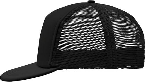 MB6207 5 Panel Flat Peak Cap - Zwart/zwart - One size