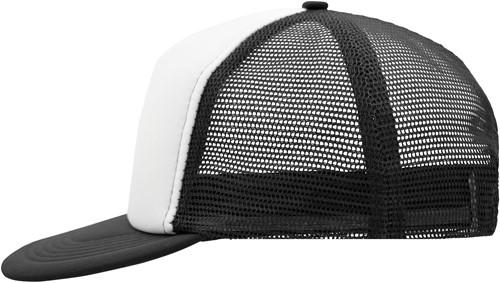 MB6207 5 Panel Flat Peak Cap - Wit/zwart - One size