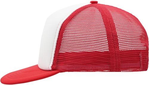 MB6207 5 Panel Flat Peak Cap - Wit/rood - One size