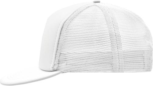 MB6207 5 Panel Flat Peak Cap - Wit/wit - One size