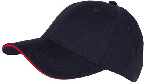 MB6212 6 Panel Brushed Sandwich Cap - Navy/rood - One size