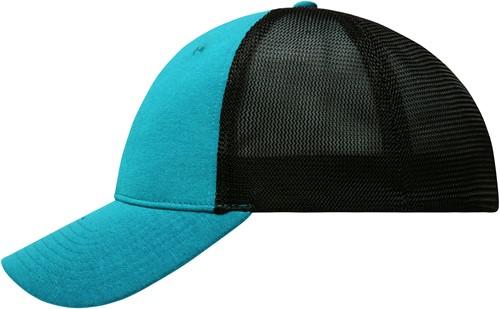 MB6215 6 Panel Elastic Fit Mesh Cap - Turquoise/zwart - L/XL