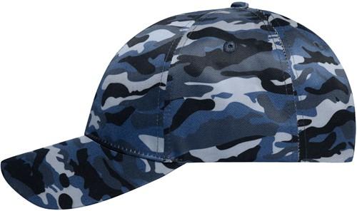 MB6227 6 Panel Camouflage Cap - Denim/zwart - One size