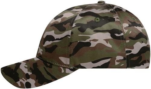 MB6227 6 Panel Camouflage Cap - Olijf/zwart - One size