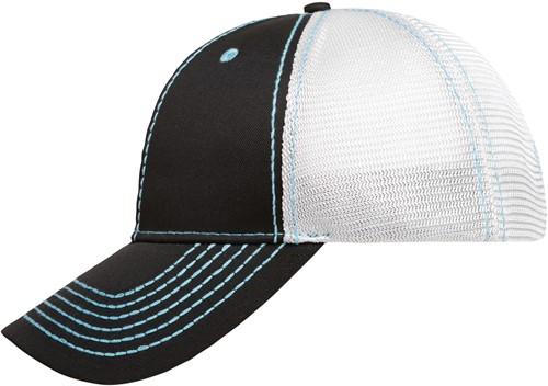 MB6229 6 Panel Mesh Cap - Zwart/turquoise/wit - One size