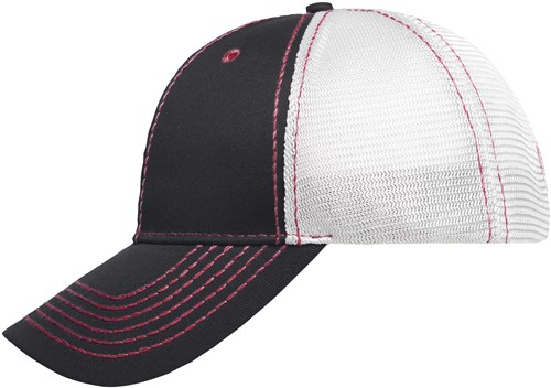 MB6229 6 Panel Mesh Cap - Grafiet/rood/wit - One size
