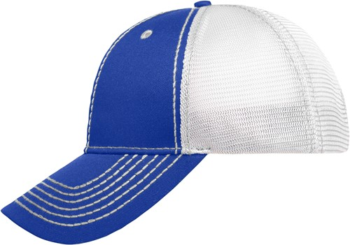 MB6229 6 Panel Mesh Cap - Royal/wit/wit - One size