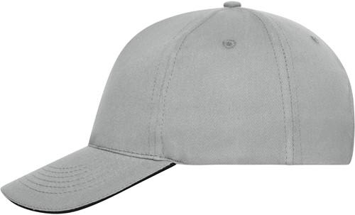 MB6238 5 Panel Sandwich Cap Bio Cotton - Lichtgrijs/zwart - One size