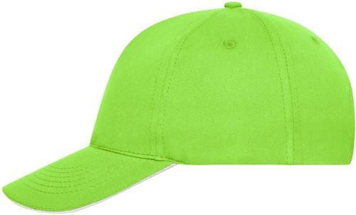 MB6238 5 Panel Sandwich Cap Bio Cotton - Lime/wit - One size