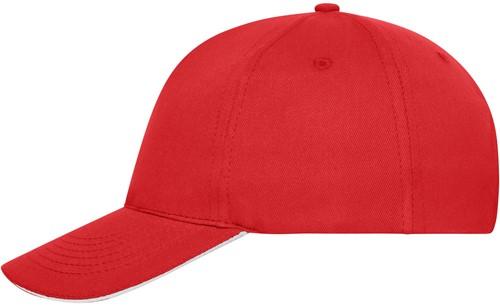 MB6238 5 Panel Sandwich Cap Bio Cotton - Rood/wit - One size