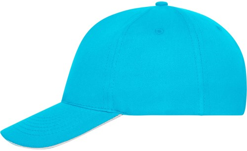 MB6238 5 Panel Sandwich Cap Bio Cotton - Turquoise/wit - One size