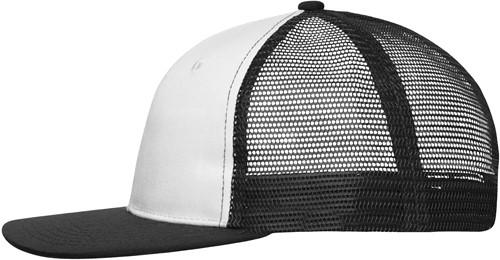 MB6240 6 Panel Flat Peak Cap - Wit/zwart - One size