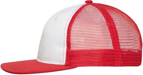 MB6240 6 Panel Flat Peak Cap - Wit/rood - One size