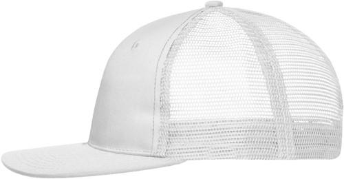 MB6240 6 Panel Flat Peak Cap - Wit/wit - One size