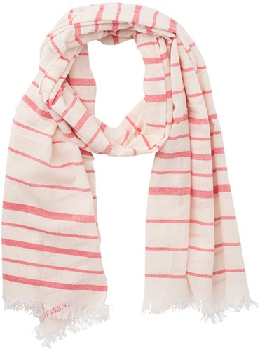 MB6406 Striped Summer Scarf - Naturel/rood - One size