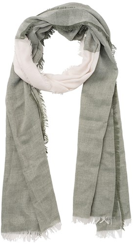 MB6407 3-coloured Scarf - Olijf/gebroken wit - One size