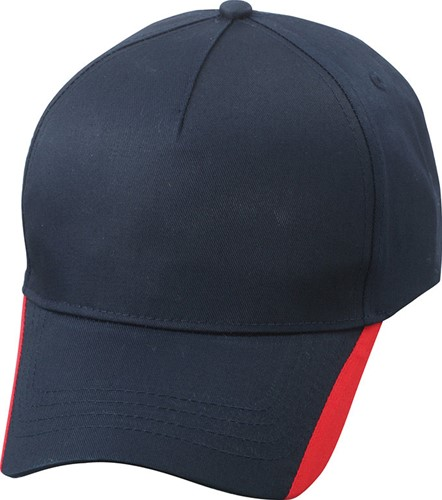 MB6502 5 Panel Two Tone Cap - Navy/rood - One size