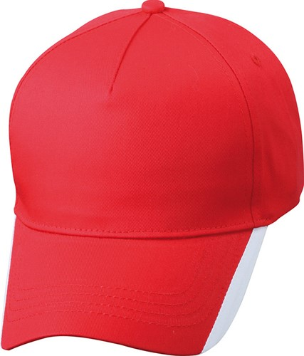 MB6502 5 Panel Two Tone Cap - Rood/wit - One size