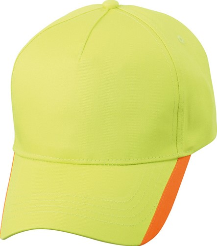 MB6502 5 Panel Two Tone Cap - Zonnig-lime/oranje - One size