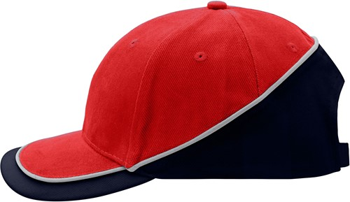 MB6506 6 Panel Turbo Piping Cap - Rood/navy/lichtgrijs - One size