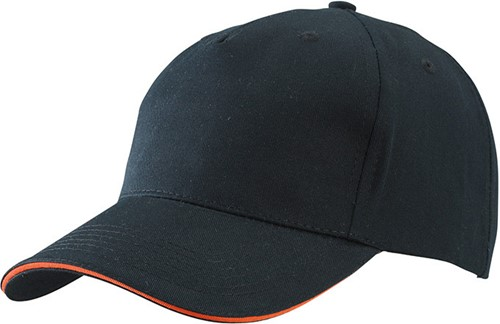 MB6526 5 Panel Sandwich Cap - Zwart/oranje - One size