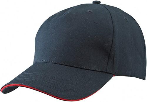MB6526 5 Panel Sandwich Cap - Zwart/rood - One size