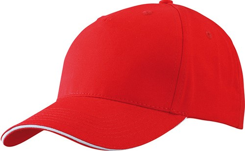 MB6526 5 Panel Sandwich Cap - Rood/wit - One size