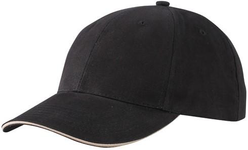 MB6541 Light Brushed Sandwich Cap - Zwart/beige - One size