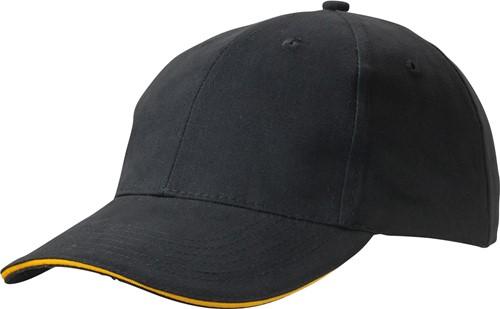 MB6541 Light Brushed Sandwich Cap - Zwart/goudgeel - One size