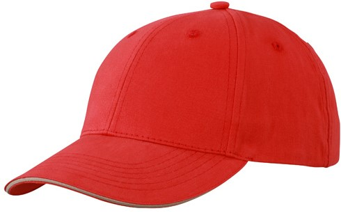 MB6541 Light Brushed Sandwich Cap - Rood/beige - One size