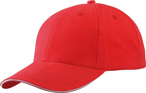 MB6541 Light Brushed Sandwich Cap - Rood/wit - One size