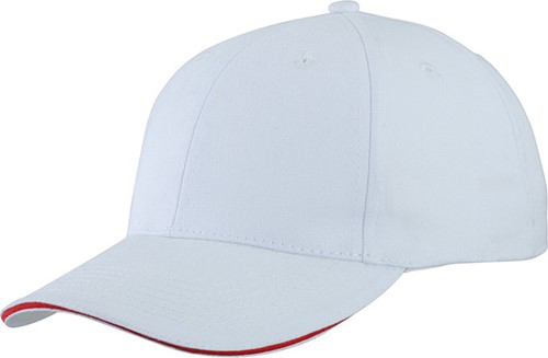 MB6541 Light Brushed Sandwich Cap - Wit/rood - One size
