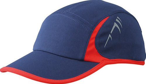 MB6544 Running 4 Panel Cap - Navy/rood - One size