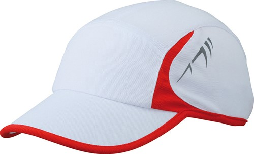 MB6544 Running 4 Panel Cap - Wit/rood - One size