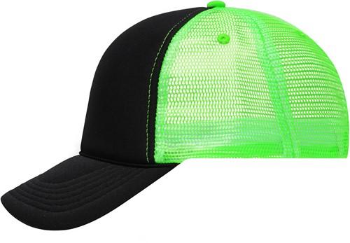 MB6550 5 Panel Retro Mesh Cap - Zwart/neon-groen - One size