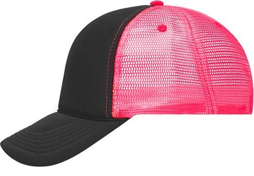 MB6550 5 Panel Retro Mesh Cap - Zwart/neon-roze - One size