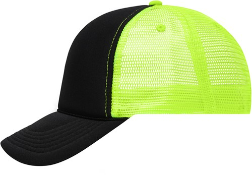 MB6550 5 Panel Retro Mesh Cap - Zwart/neon-geel - One size