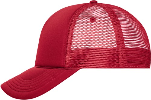 MB6550 5 Panel Retro Mesh Cap - Rood/rood - One size