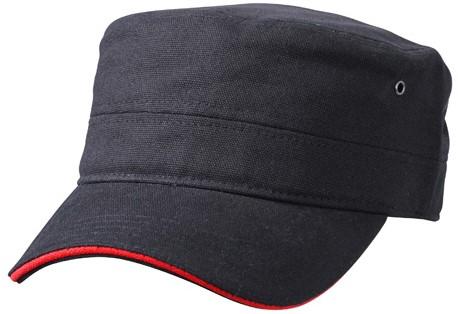 MB6555 Military Sandwich Cap - Zwart/rood - One size